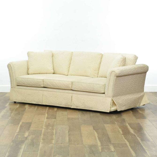 Contemporary Overstuffed Ivory Upholstery Sofa