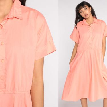 Peach Shirt Dress Midi 80s Shirtwaist Cotton Short Sleeve Shirtdress Button Up High Waisted 1980s Vintage Plain Secretary Extra Large xl by ShopExile