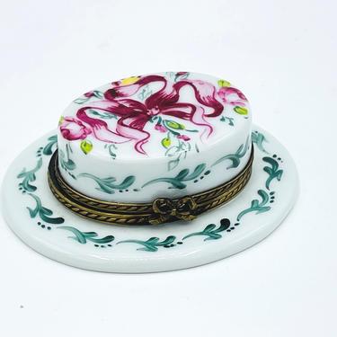 Vintage Peint Main Limoges France Floral Ribbon Patten Hat Trinket Box Hand Painted by JoAnntiques
