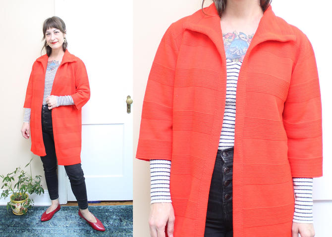 Vintage 60's 70's Open Front Red Long Length Cardigan / 1960's Red Sweater Cardigan / Dress / Women's Size Small Medium by RubyThreadsVintage