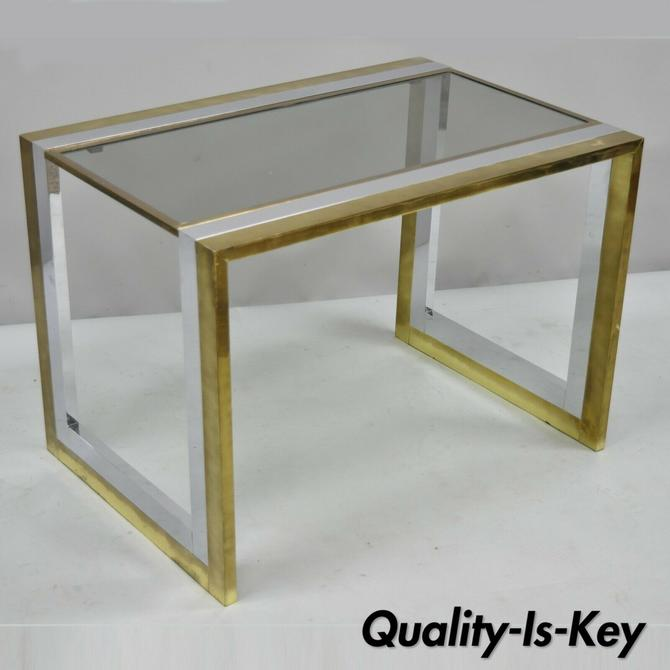 Vtg Mid Century Modern Chrome Brass Glass Waterfall Side Table by Messin Finland