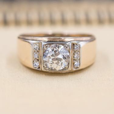 1.17 Carat Old European Cut Diamond Wide Band Ring c1930