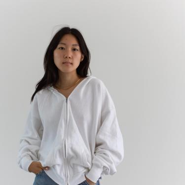 Vintage White Zip Sweatshirt   Healthknit Hoodie   Made in USA   L XL   by RAWSONSTUDIO
