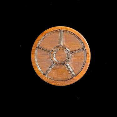 """Vintage Mid Century Danish Modern DIGSMED 12.5"""" Teak Wood Lazy Susan Serving Tray with 6 Glass Tray Inserts Modernist Denmark Design by SwankyChaperooo"""