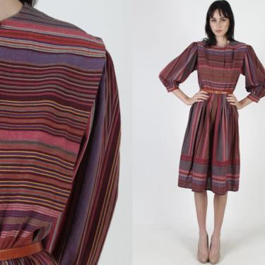 Simple Minimalist Striped Dress / 80s Geometric Horizontal Lined Dress / Multi Color Flowy Casual Dress / Knee Length Mini Midi Dress by americanarchive