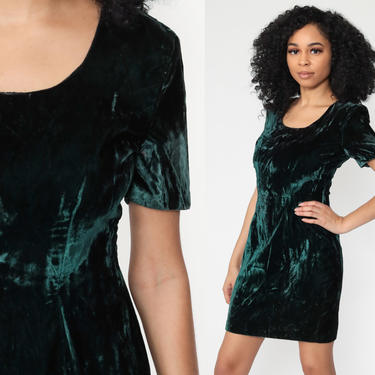 90s Green Velvet Dress -- 1990s Party Mini Short Sleeve Shift Sheath Cocktail Vintage Gothic Witch Minidress Goth Extra Small xs by ShopExile