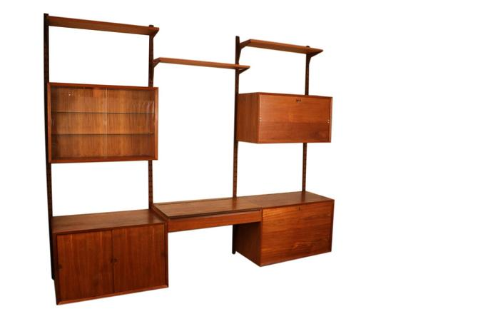 Mid Century Modern Danish Teak Floating Wall Unit with Vanity by Marykaysfurniture