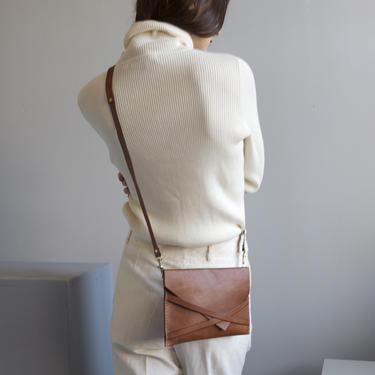 cognac leather envelope shoulder bag by EELT