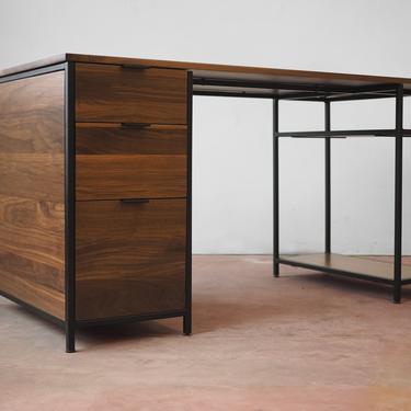 Mack desk - Walnut and black powder coated steel by HerbsFurniture