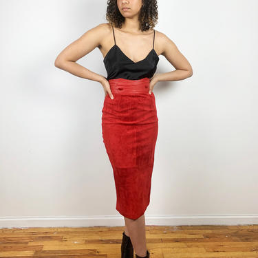 Vintage 80s Red Suede Leather Long Pencil Skirt Yoke Small XS 1980s 1990s 90s by ErraticStaticVintage