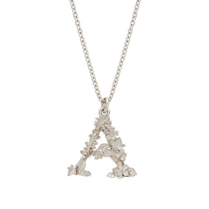 Floral Letter Necklace - Sterling Silver