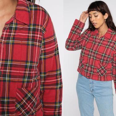 00s Plaid Jacket Tommy Hilfiger Jacket Cropped Jacket Tartan Red Y2K Checkered Zip Up Vintage Large by ShopExile