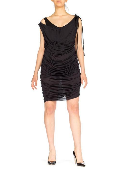 1990S Vivienne Westwood Black Viscose Jersey Draped Over A Cotton Corset Cocktail Dress by SHOPMORPHEW