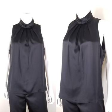 1990s Black High Neck Sleeveless Blouse, Medium ~ Silk Charmeuse Cocktail Blouse ~ Vintage I. Magnin ~ Flared Keyhole Back Free Bust Top by SoughtClothier