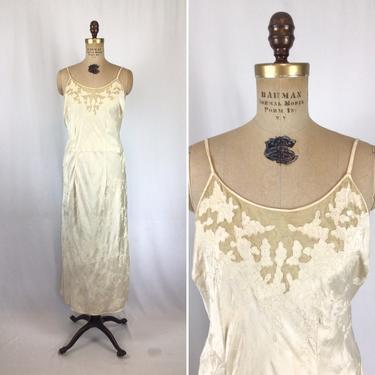 Vintage 40s nightgown | Vintage cream floral silk nightdress | 1940s ivory appliqué backless slip by BeeandMason