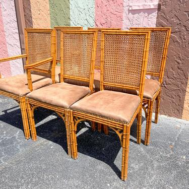Set of Six Faux Bamboo Cane Chairs