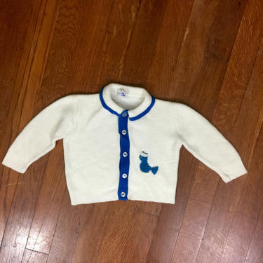 Vintage 50s Child's White and Blue Cardigan Sweater w/ Felt Bird 1950s Youth Girl's by FlashbackATX