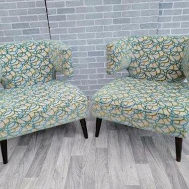 Vintage Marquis Seating Co Barrel Back Jasper Lounge Chairs in a Patterned Chenille - Pair