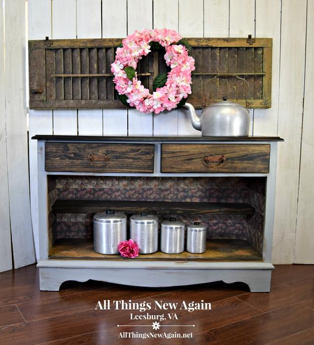 Rustic Gray Buffet | Farmhouse Buffet | Rustic Sideboard | Farmhouse Sideboard | Rustic Gray Server | Country Style Console | Storage by AllThingsNewAgainVA