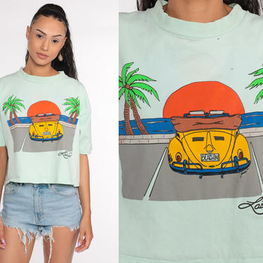 Tropical Tshirt Las Vegas Shirt Palm Tree Shirt Green Shirt Nevada Graphic Tee Retro 90s T Shirt Crop Top Small Medium Large by ShopExile