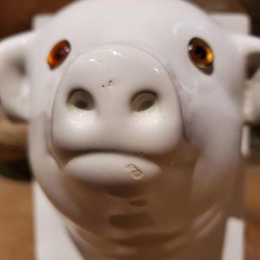 RESERVED FOR CORINNA White Ceramic Pig Kitchen Towel Holder by RedsRustyRelics