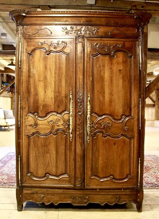 French Armoire Circa 1880 with Impressive Carving & Hardware Details