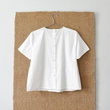 vintage button back top, white cotton short sleeve blouse, size M by ImprovGoods