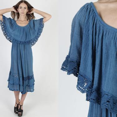 Ocean Blue Cotton Gauze Dress / 80s Plain Crochet Beach Dress / Lightweight Sun Dress / Sheer Crochet Lace Ruffle Tiered Mexican Midi Maxi by americanarchive