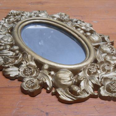 Vintage Plastic Resin Gold Oval Mirror Wall Mount Mirror Decorative Fruit Pattern Molded Plastic Roman Numeral 1966 Wall Hanging Wall Art by kissmyattvintage