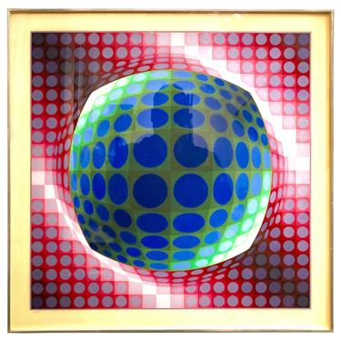 Victor Vasarely Op-Art Litho Signed and Numbered 128/250 Vega Series
