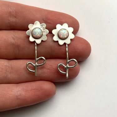 Silver Daisy Flower Studs with Opals by RachelPfefferDesigns