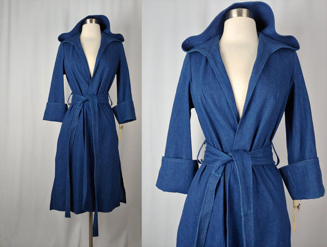 Vintage Seventies J&J Blue Denim Hooded Belted Jacket - 70s Small NOS Jena Duster Jacket from The Limitied - Vintage Tags Attached by JanetandJaneVintage