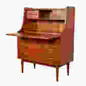 Danish Modern Compact Locking Teak Drop-Down Secretary | Desk