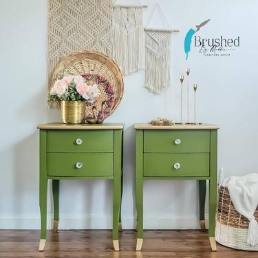 Green set of nightstands/side tables by BrushedbymaddieArt