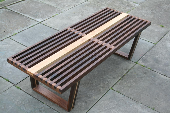 Mid-century Modern Slat Bench by AvocationHardwoods