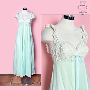 Vintage Blue Green Lingerie Nightgown Nighty PINUP sexy style 1960's, 1950's, 1970's, Long Dress Gown by Boutique369