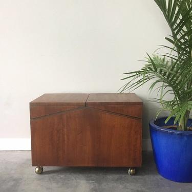 vintage mid century modern Lane record cabinet on wheels.