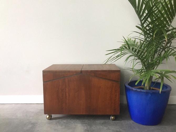 vintage mid century modern Lane record cabinet on wheels.