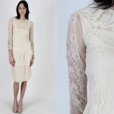Vintage 80s Country Elegance Dress / Romantic Lace Peplum Dress / Womens 1980s Sheer Ivory Lace Deco Dress / Plain Bridal Lawn Mini by americanarchive