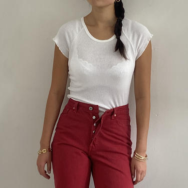 80s Levis 501 red denim jeans / vintage red Levis 501 button fly high waisted tapered leg Levis jeans made in USA   27 W size 4 by RecapVintageStudio