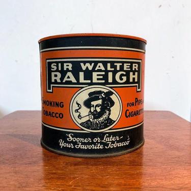 Vintage Tobacco Tin Sir Walter Raleigh Round Jar Tin by OverTheYearsFinds