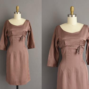 vintage 1950s dress | Gorgeous Mauve Silk Cocktail Party Wiggle Dress | Small | 50s vintage dress by simplicityisbliss