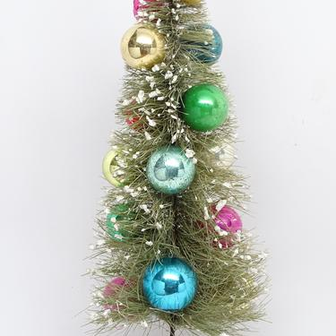 Vintage 1950's Bottle Brush 12 Inch Christmas Tree, Decorated with Mercury Glass Ornaments, Antique Retro Decor by exploremag