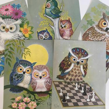 Vintage Owl Prints K Chin Lithographs Set of Five (5) Litho 1973 1970s Donald Art Co. USA Kitsch Retro Decor Nursery Owls Illustration Print by CheckEngineVintage