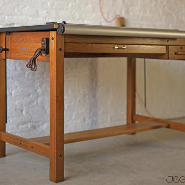 drafting 4-post tilting table by Mayline with two drawers, paper holder, electrical strip and parallel drawing bar by jeglova