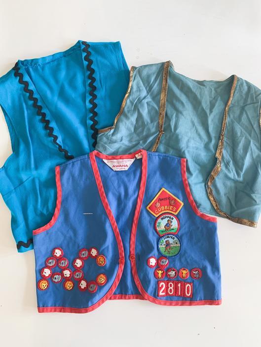 Vintage lot of 3 kids costume vest / youth size by MsTips