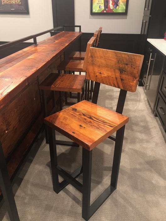 Reclaimed wood stool. Bar stool. Counter height stool. Stool with back. Wood and steel. Bar height chair. by UrbanIndustrialNW