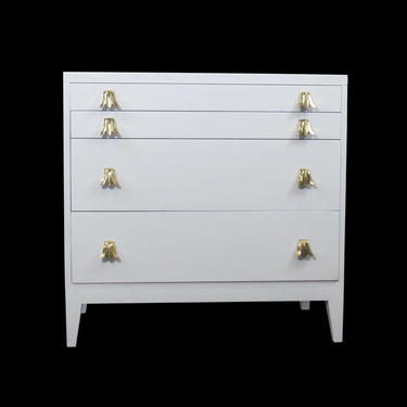 Widdicomb White Lacquered Dresser Cabinet with Brass Pulls
