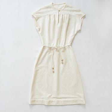 Cicely Dress — vintage sundress / 70s textured white cap sleeve tie waist midi dress / medium Jody T minimalist cotton belted keyhole dress by fieldery