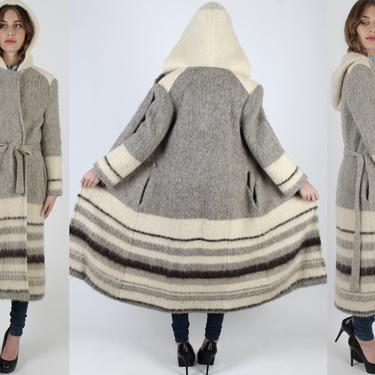 Full Length Icewool Sweater / Long Wool Nordic Winter Jacket / Vintage 70s Icelandic Hooded Duster Coat by americanarchive